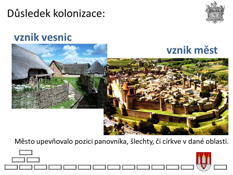 Důsledek kolonizace: Město upevňovalo pozici panovníka, šlechty, či církve v dané oblasti. http://nd04.jxs.cz/914/185/be677eca30_72409782_o2.jpg http: