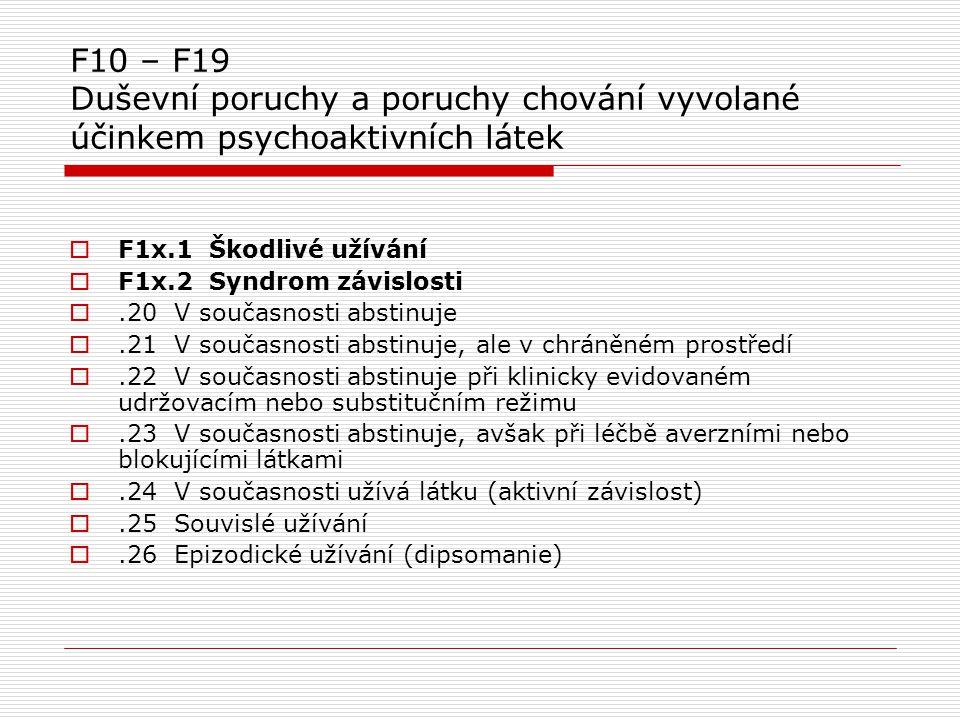  F1x.1 Škodlivé užívání  F1x.2 Syndrom závislosti .20 V současnosti abstinuje .21 V současnosti abstinuje, ale v chráněném prostředí .22 V součas