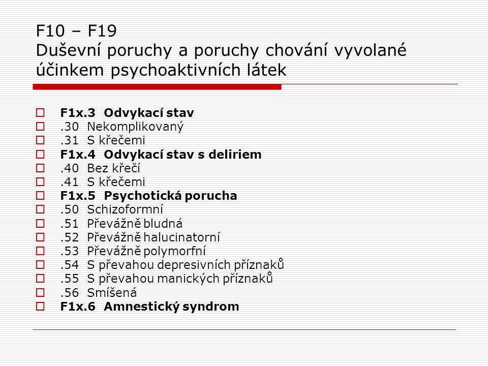 F10 – F19 Duševní poruchy a poruchy chování vyvolané účinkem psychoaktivních látek  F1x.3 Odvykací stav .30 Nekomplikovaný .31 S křečemi  F1x.4 Od