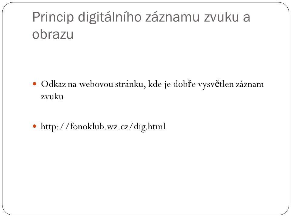Princip digitálního záznamu zvuku a obrazu Odkaz na webovou stránku, kde je dob ř e vysv ě tlen záznam zvuku http://fonoklub.wz.cz/dig.html