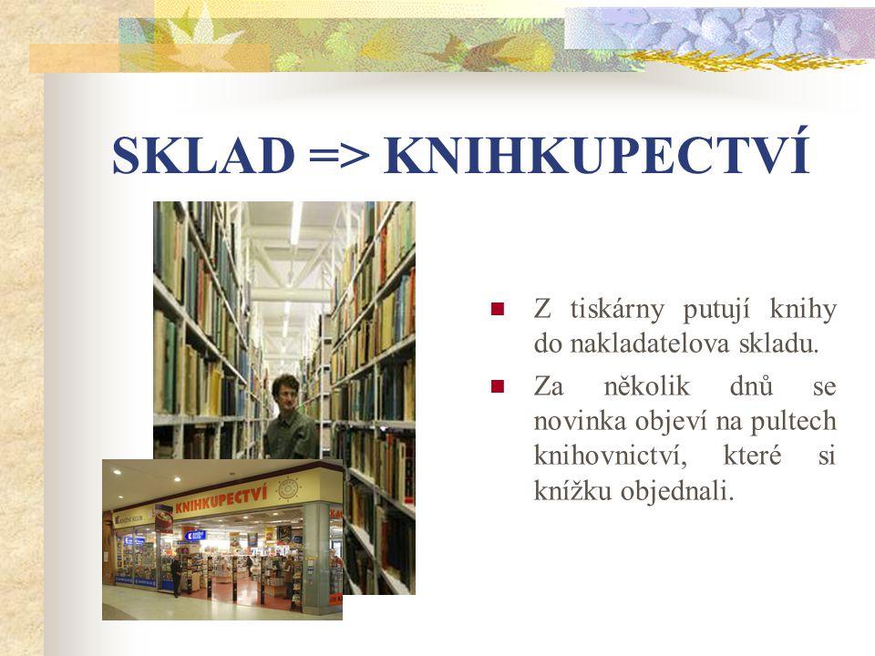 SKLAD => KNIHKUPECTVÍ Z tiskárny putují knihy do nakladatelova skladu.