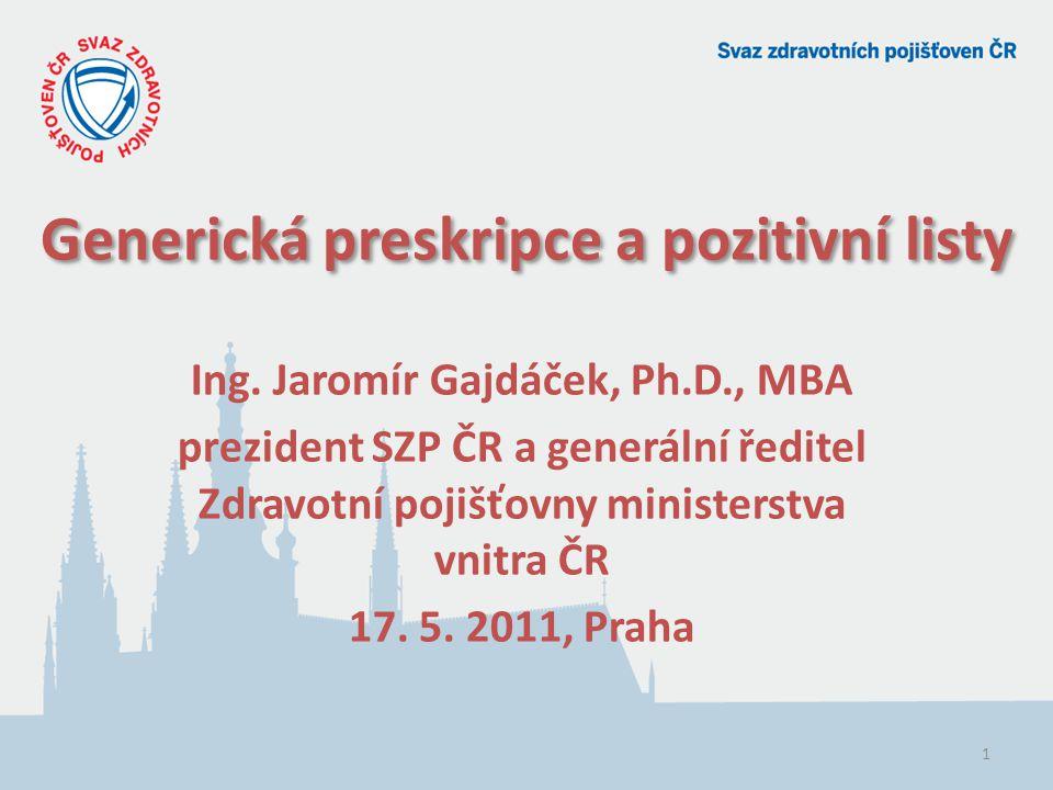 1 Generická preskripce a pozitivní listy Ing.