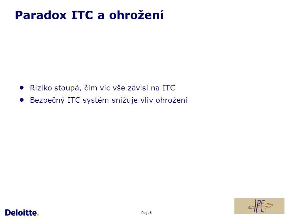 Page 5 Paradox ITC a ohrožení Riziko stoupá, čím víc vše závisí na ITC Bezpečný ITC systém snižuje vliv ohrožení