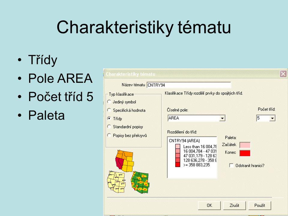 Charakteristiky tématu Třídy Pole AREA Počet tříd 5 Paleta
