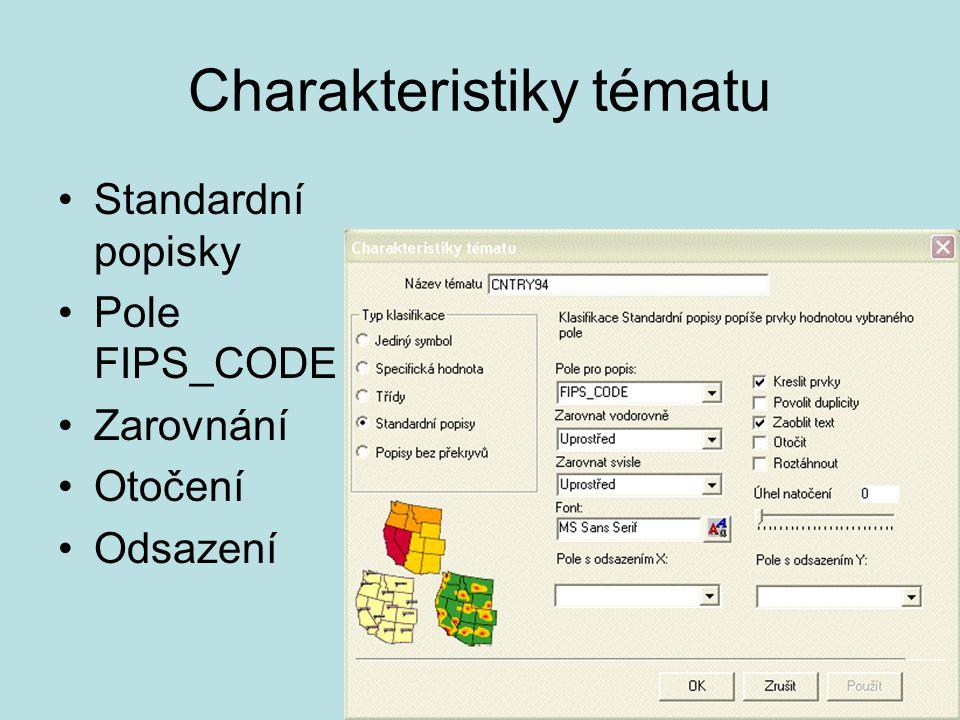 Charakteristiky tématu Standardní popisky Pole FIPS_CODE Zarovnání Otočení Odsazení