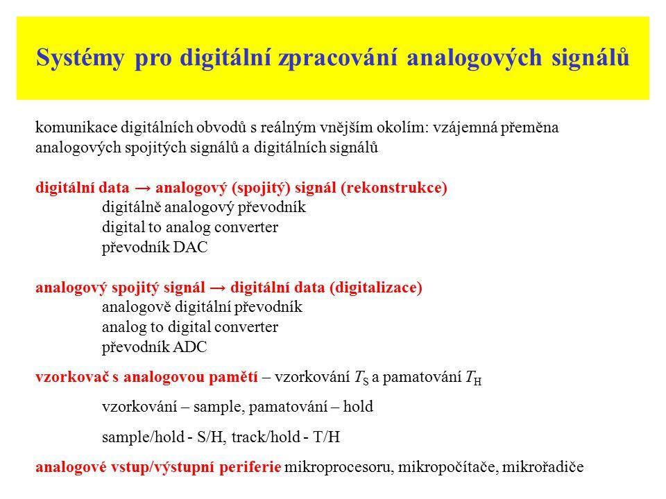 Analogově digitální převodníky ADC Převod vstupního napětí u nebo proud i na číslicový signál D kvantovací chyby převodníku analogově digitální převod kvantování analogového signálu v čase (vzorkování), kvatování referenčního signálu v amplitudě, kódováním a dekódováním číslicového signálu