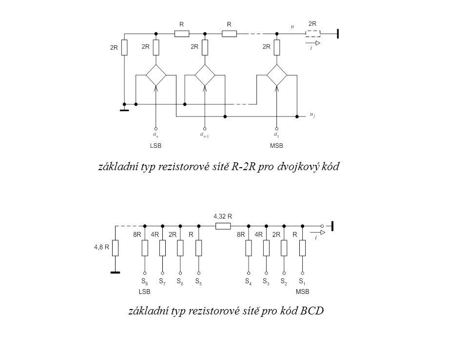 základní typ rezistorové sítě R-2R pro dvojkový kód základní typ rezistorové sítě pro kód BCD