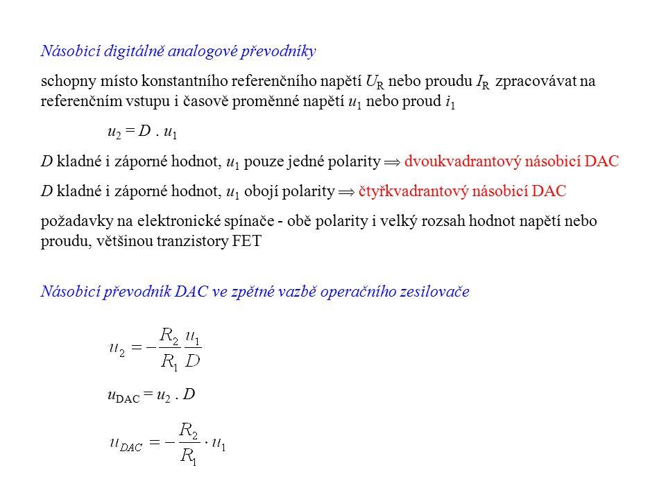Násobicí digitálně analogové převodníky schopny místo konstantního referenčního napětí U R nebo proudu I R zpracovávat na referenčním vstupu i časově