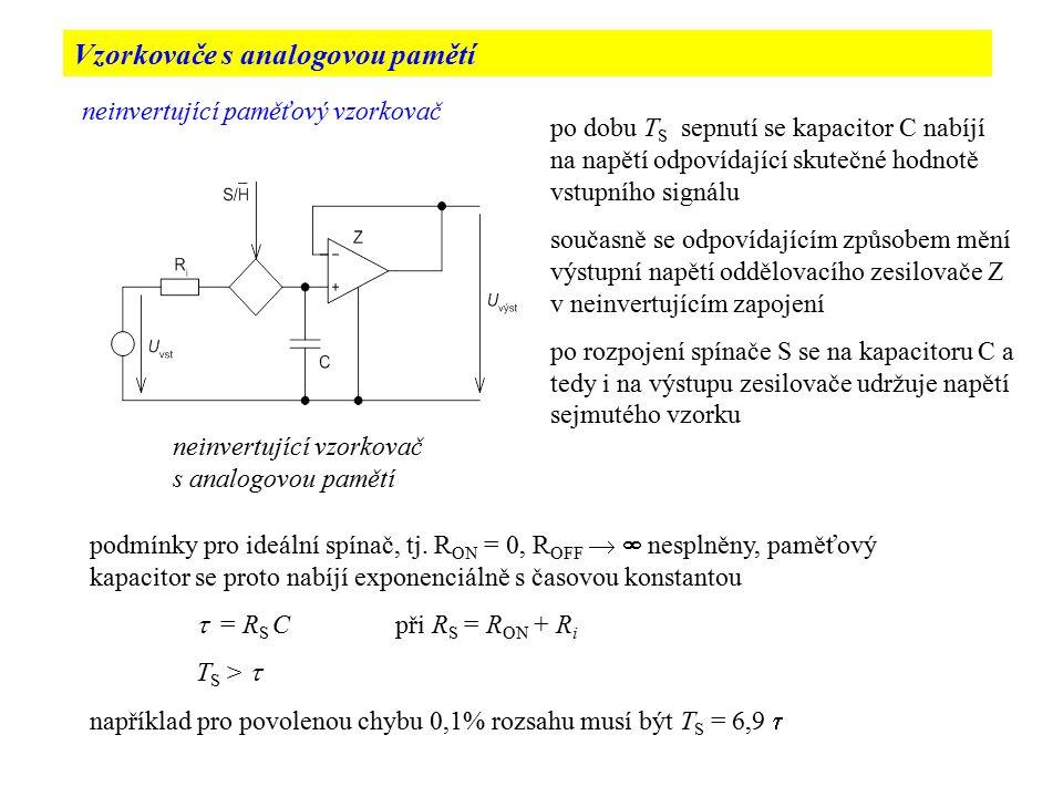 zapojení zpětnovazebního neinvertujícího vzorkovače dobu T S vzorkování lze zkrátit zmenšením  zpětnovazební zapojení s pomocným zesilovačem umožňuje zmenšit nabíjecí časovou konstantu  až (A 1 + 1) krát A 1 je napěťové zesílení pomocného zesilovače
