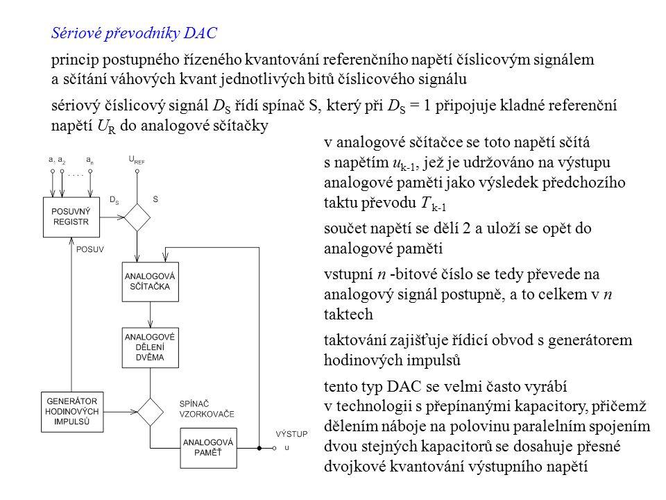 Sériové převodníky DAC princip postupného řízeného kvantování referenčního napětí číslicovým signálem a sčítání váhových kvant jednotlivých bitů čísli