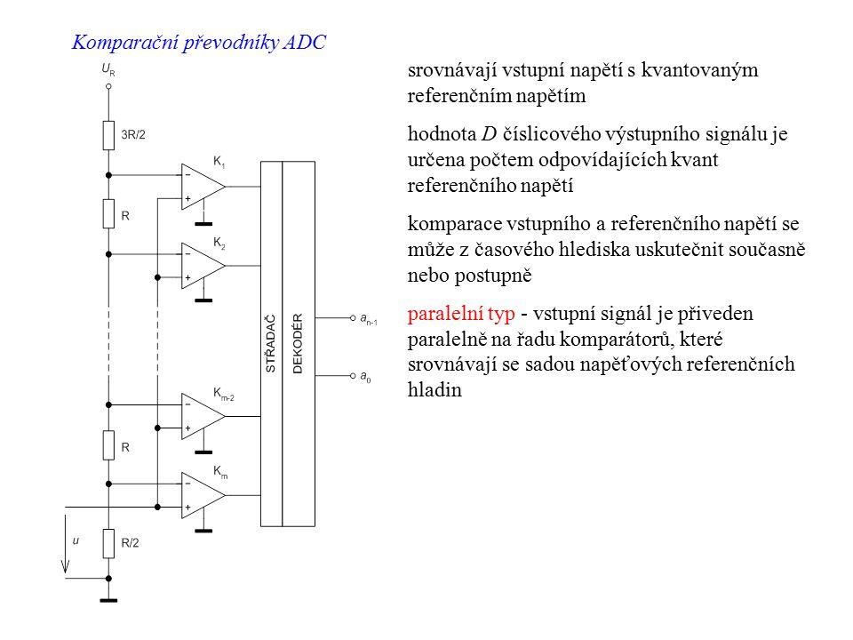 srovnávají vstupní napětí s kvantovaným referenčním napětím hodnota D číslicového výstupního signálu je určena počtem odpovídajících kvant referenčníh