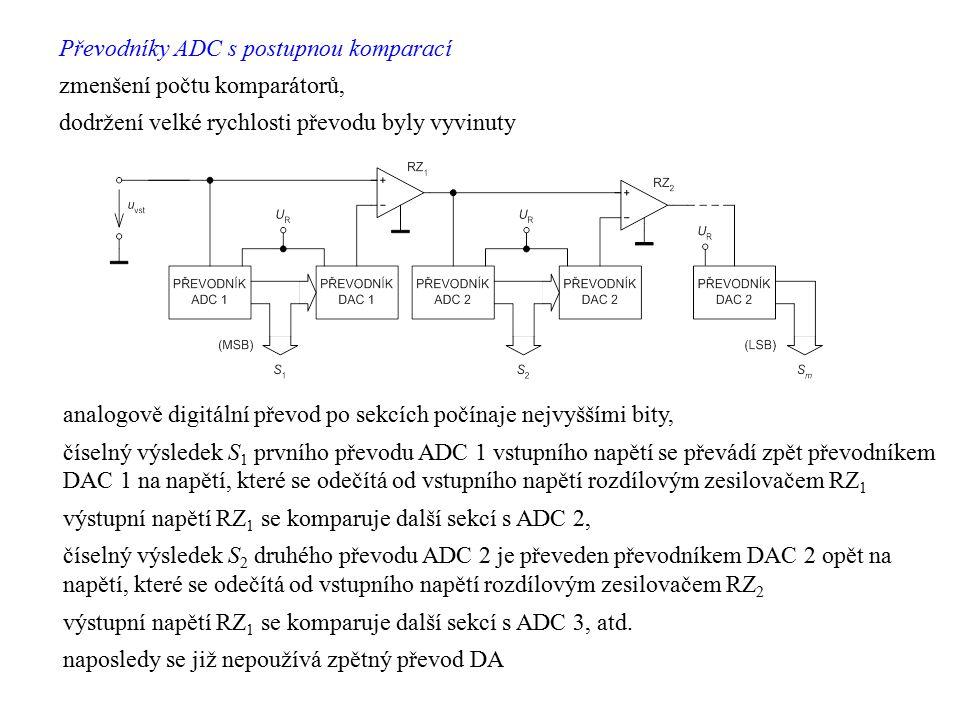 Převodníky ADC s postupnou komparací zmenšení počtu komparátorů, dodržení velké rychlosti převodu byly vyvinuty analogově digitální převod po sekcích