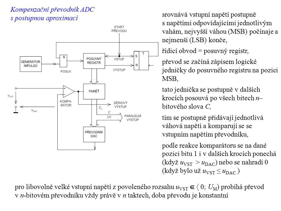 srovnává vstupní napětí postupně s napětími odpovídajícími jednotlivým vahám, nejvyšší váhou (MSB) počínaje a nejmenší (LSB) konče, řídicí obvod = pos