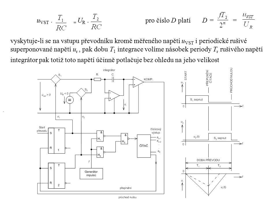 u VST. = U R.. pro číslo D platí D = = vyskytuje-li se na vstupu převodníku kromě měřeného napětí u VST i periodické rušivé superponované napětí u r,