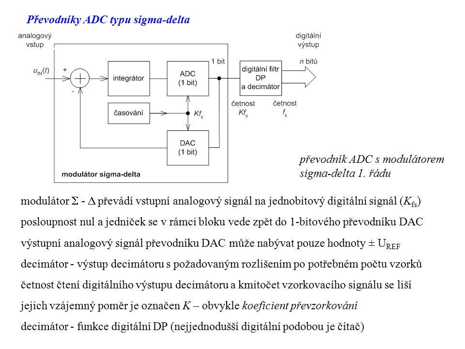 Převodníky ADC typu sigma-delta převodník ADC s modulátorem sigma-delta 1. řádu modulátor  -  převádí vstupní analogový signál na jednobitový digitá
