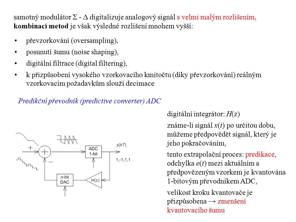 samotný modulátor  -  digitalizuje analogový signál s velmi malým rozlišením, kombinací metod je však výsledné rozlišení mnohem vyšší: převzorkování