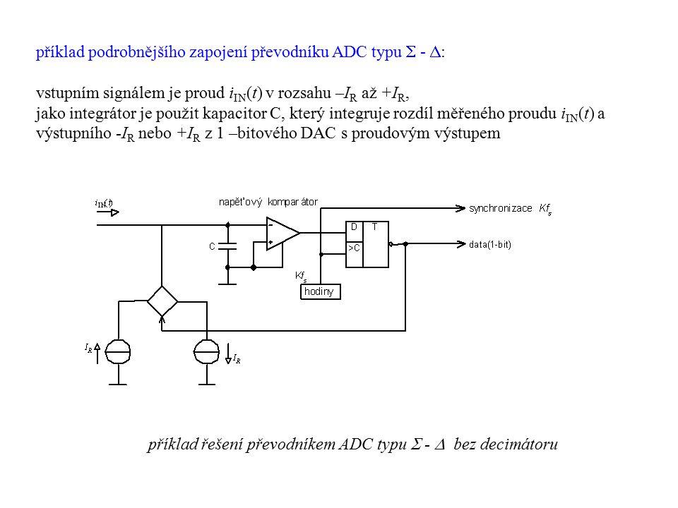 příklad podrobnějšího zapojení převodníku ADC typu  -  : vstupním signálem je proud i IN (t) v rozsahu –I R až +I R, jako integrátor je použit kapac