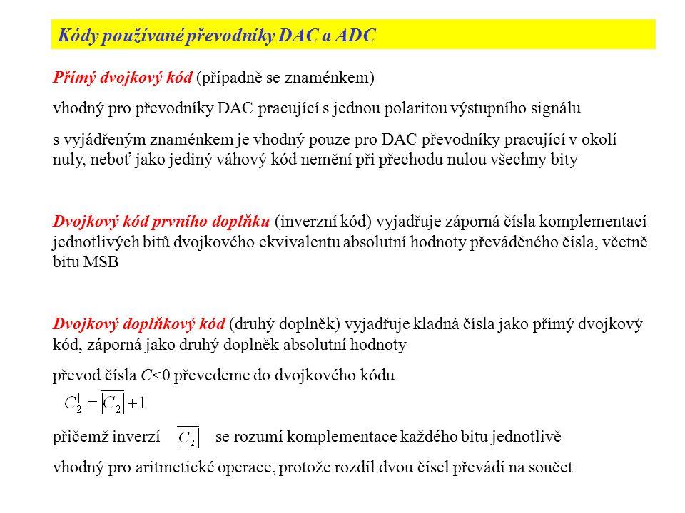 Kódy používané převodníky DAC a ADC Přímý dvojkový kód (případně se znaménkem) vhodný pro převodníky DAC pracující s jednou polaritou výstupního signá