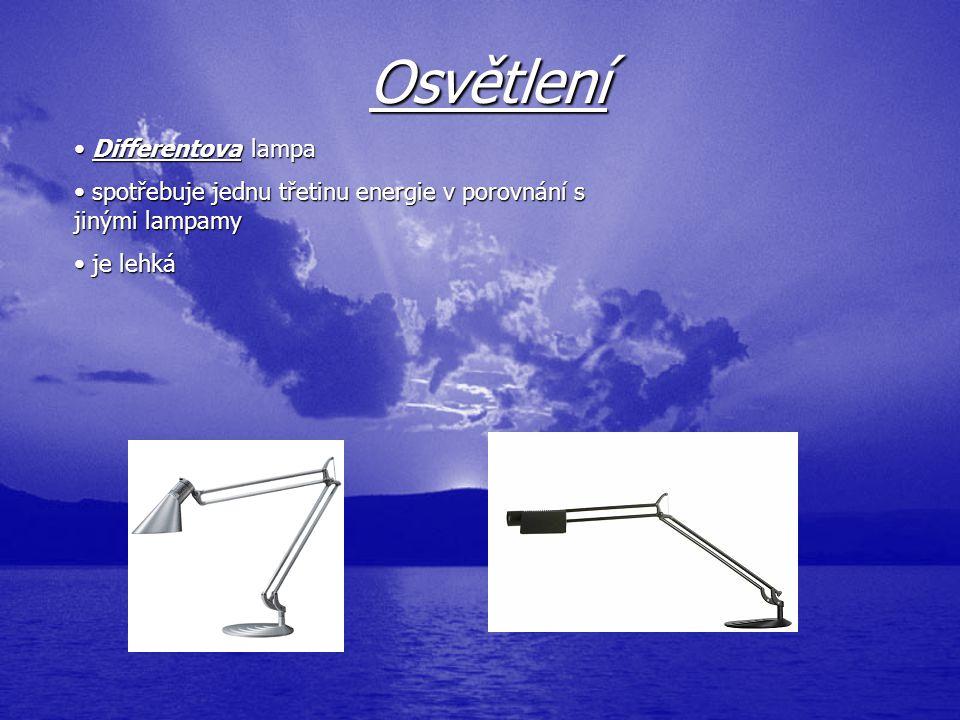 Osvětlení Differentova Differentova lampa spotřebuje jednu třetinu energie v porovnání s jinými lampamy je lehká