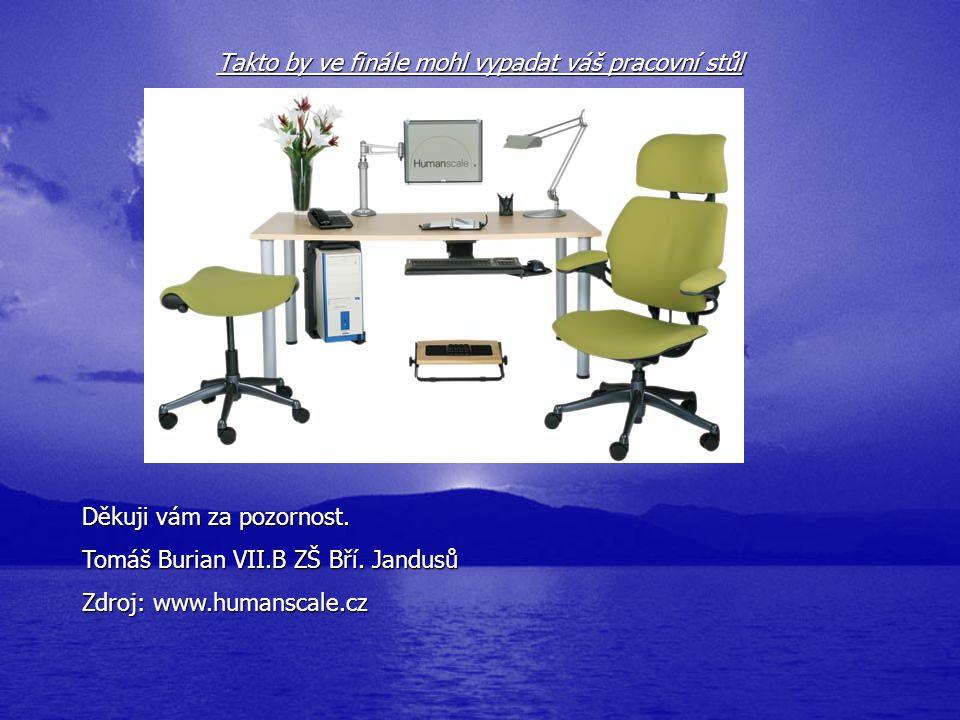 Děkuji vám za pozornost. Tomáš Burian VII.B ZŠ Bří. Jandusů Zdroj: www.humanscale.cz Takto by ve finále mohl vypadat váš pracovní stůl