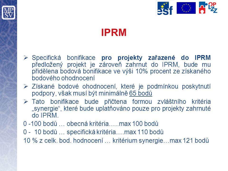 """IPRM  Specifická bonifikace pro projekty zařazené do IPRM předložený projekt je zároveň zahrnut do IPRM, bude mu přidělena bodová bonifikace ve výši 10% procent ze získaného bodového ohodnocení  Získané bodové ohodnocení, které je podmínkou poskytnutí podpory, však musí být minimálně 65 bodů  Tato bonifikace bude přičtena formou zvláštního kritéria """"synergie , které bude uplatňováno pouze pro projekty zahrnuté do IPRM."""