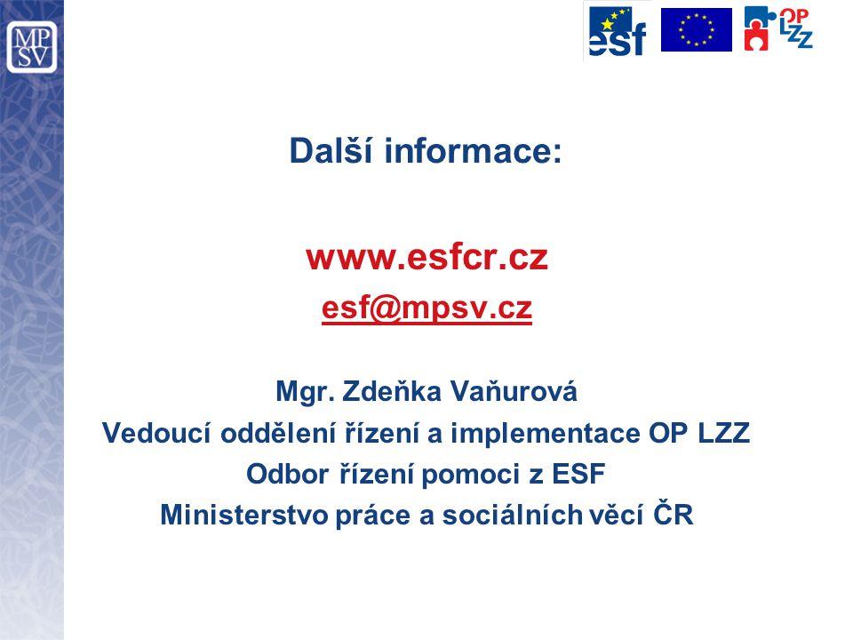 Další informace: www.esfcr.cz esf@mpsv.cz Mgr. Zdeňka Vaňurová Vedoucí oddělení řízení a implementace OP LZZ Odbor řízení pomoci z ESF Ministerstvo pr