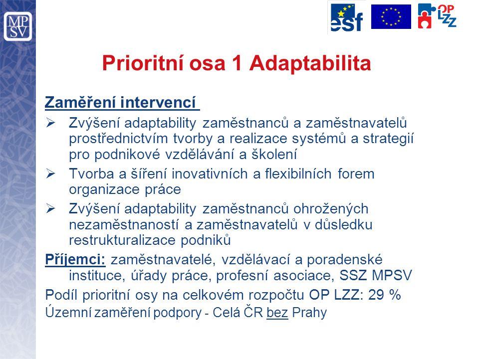 Prioritní osa 1 Adaptabilita Zaměření intervencí  Zvýšení adaptability zaměstnanců a zaměstnavatelů prostřednictvím tvorby a realizace systémů a strategií pro podnikové vzdělávání a školení  Tvorba a šíření inovativních a flexibilních forem organizace práce  Zvýšení adaptability zaměstnanců ohrožených nezaměstnaností a zaměstnavatelů v důsledku restrukturalizace podniků Příjemci: zaměstnavatelé, vzdělávací a poradenské instituce, úřady práce, profesní asociace, SSZ MPSV Podíl prioritní osy na celkovém rozpočtu OP LZZ: 29 % Územní zaměření podpory - Celá ČR bez Prahy