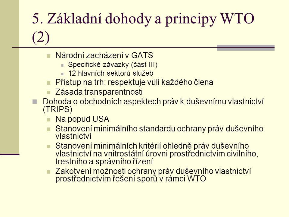 5. Základní dohody a principy WTO (2) Národní zacházení v GATS Specifické závazky (část III) 12 hlavních sektorů služeb Přístup na trh: respektuje vůl