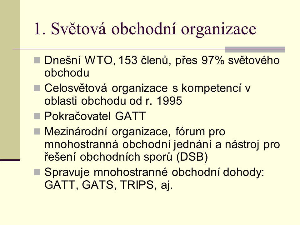 1. Světová obchodní organizace Dnešní WTO, 153 členů, přes 97% světového obchodu Celosvětová organizace s kompetencí v oblasti obchodu od r. 1995 Pokr
