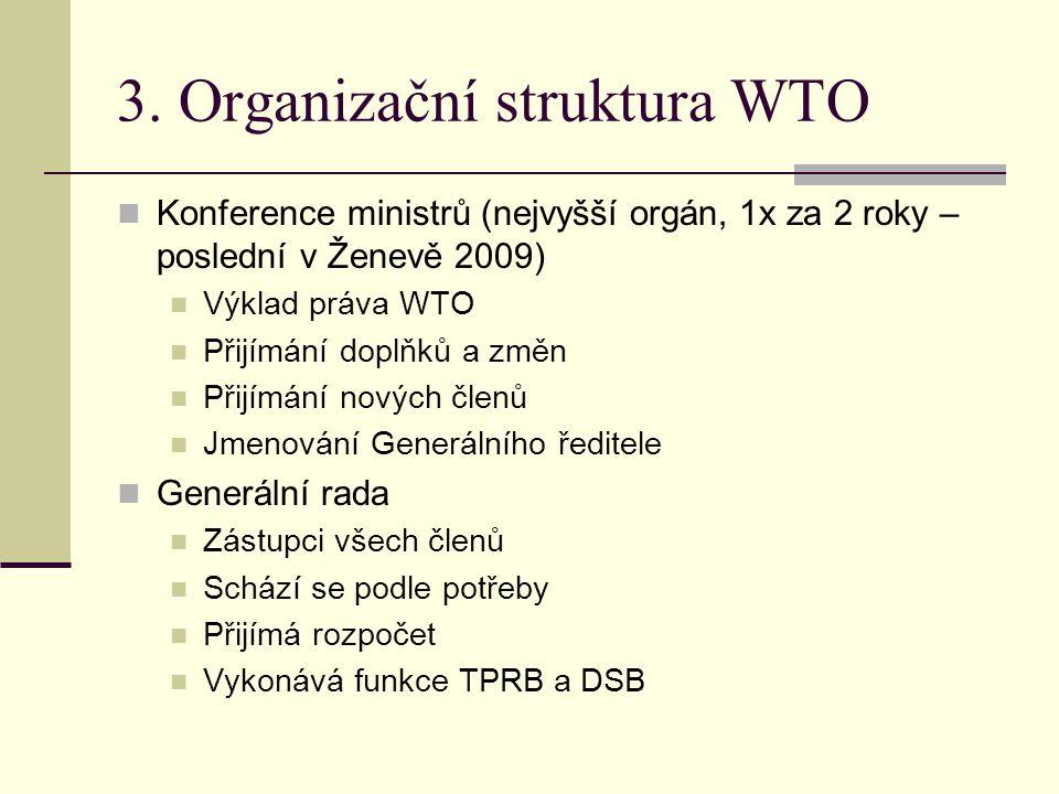 3. Organizační struktura WTO Konference ministrů (nejvyšší orgán, 1x za 2 roky – poslední v Ženevě 2009) Výklad práva WTO Přijímání doplňků a změn Při