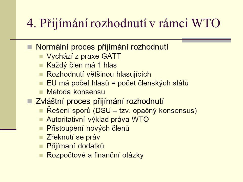 4. Přijímání rozhodnutí v rámci WTO Normální proces přijímání rozhodnutí Vychází z praxe GATT Každý člen má 1 hlas Rozhodnutí většinou hlasujících EU