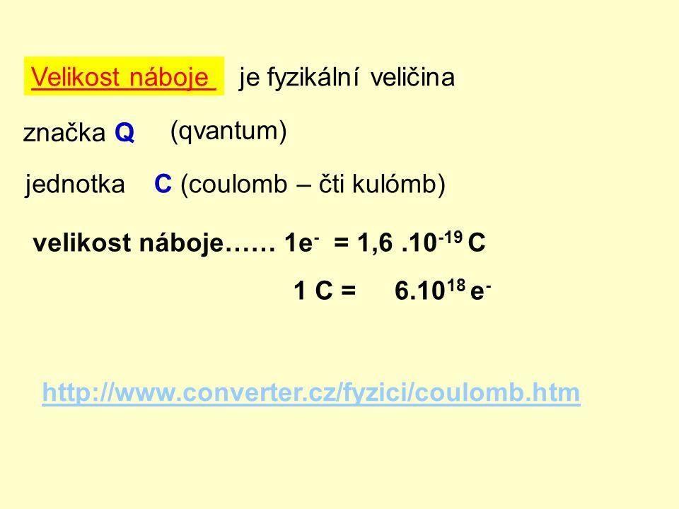 Velikost nábojeje fyzikální veličina značka Q jednotkaC (coulomb – čti kulómb) (qvantum) velikost náboje…… 1e - = 1,6.10 -19 C 1 C =6.10 18 e - http:/