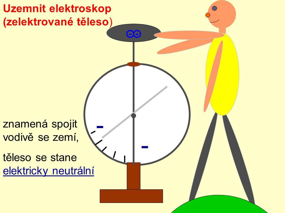 - - Uzemnit elektroskop (zelektrované těleso) znamená spojit vodivě se zemí, těleso se stane elektricky neutrální