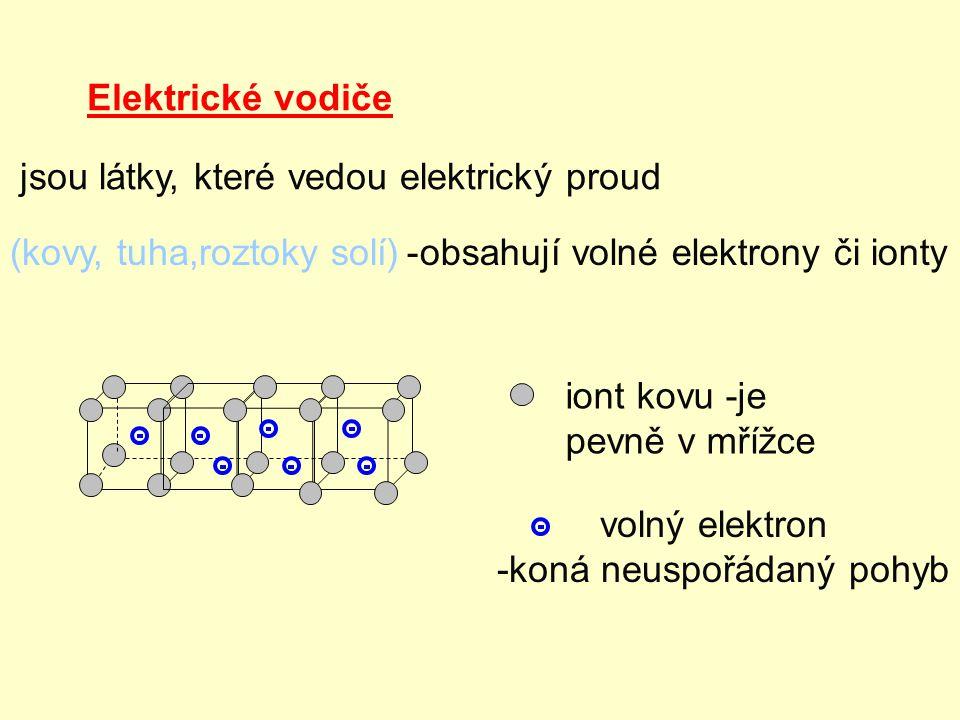 Elektrické vodiče jsou látky, které vedou elektrický proud (kovy, tuha,roztoky solí)-obsahují volné elektrony či ionty iont kovu -je pevně v mřížce vo