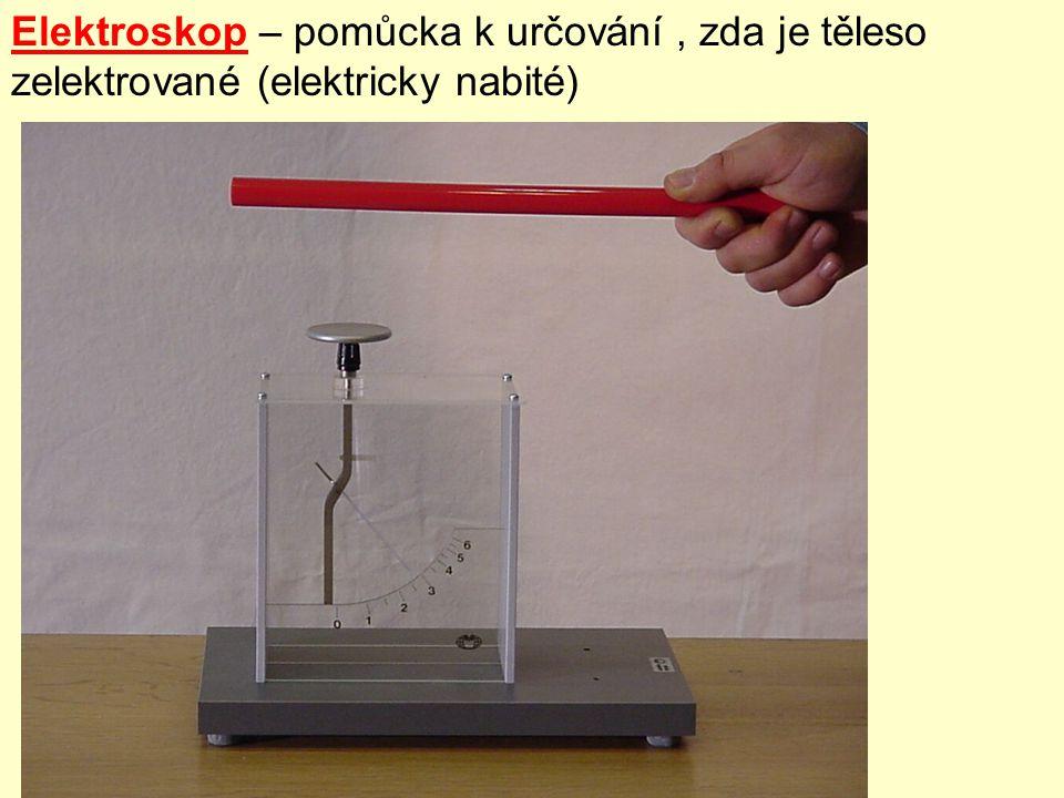 Elektroskop – pomůcka k určování, zda je těleso zelektrované (elektricky nabité)