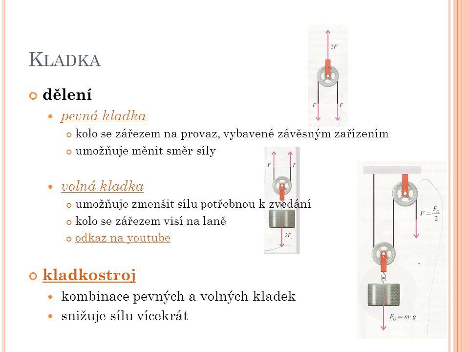 K LADKA dělení pevná kladka kolo se zářezem na provaz, vybavené závěsným zařízením umožňuje měnit směr síly volná kladka umožňuje zmenšit sílu potřebn