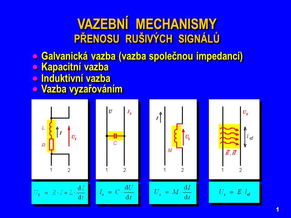 1 VAZEBNÍ MECHANISMY PŘENOSU RUŠIVÝCH SIGNÁLŮ VAZEBNÍ MECHANISMY PŘENOSU RUŠIVÝCH SIGNÁLŮ  Galvanická vazba (vazba společnou impedancí)  Kapacitní v