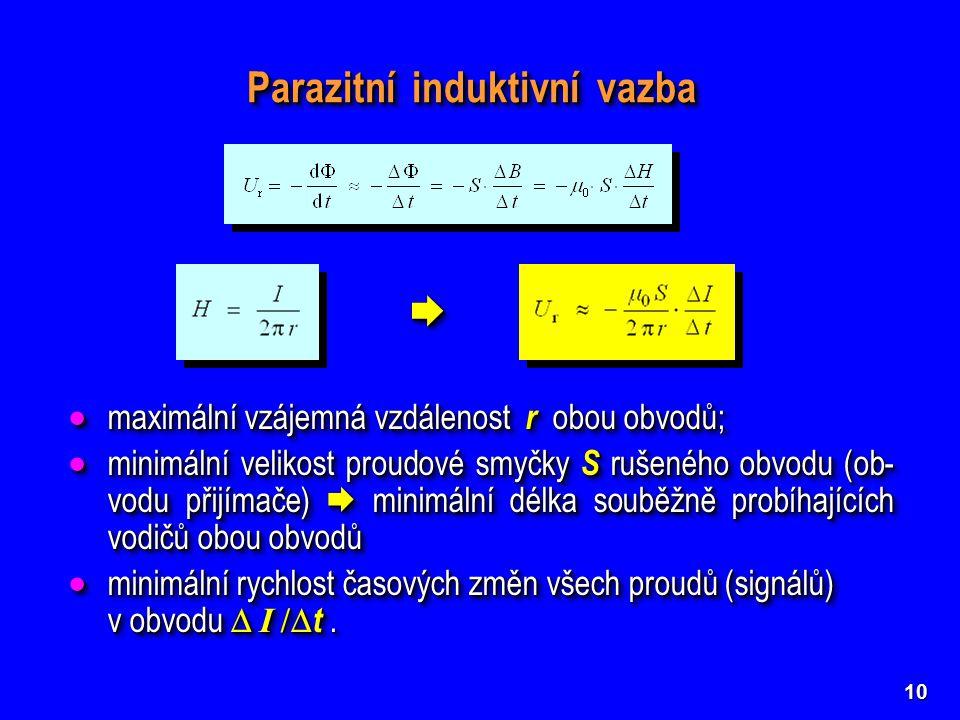 10 Parazitní induktivní vazba   maximální vzájemná vzdálenost r obou obvodů;  minimální velikost proudové smyčky S rušeného obvodu (ob- vodu přijí