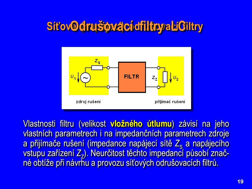 19 Síťové (napájecí) odrušovací filtry Vlastnosti filtru (velikost vložného útlumu ) závisí na jeho vlastních parametrech i na impedančních parametrec