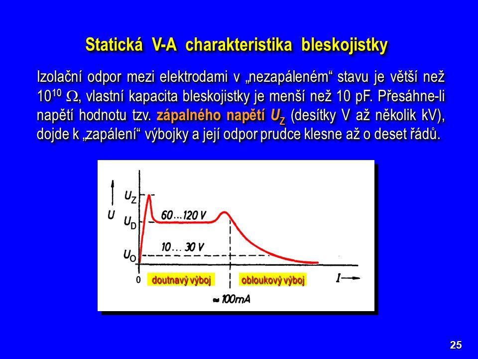 """Statická V-A charakteristika bleskojistky Izolační odpor mezi elektrodami v """"nezapáleném stavu je větší než 10 10 , vlastní kapacita bleskojistky je menší než 10 pF."""
