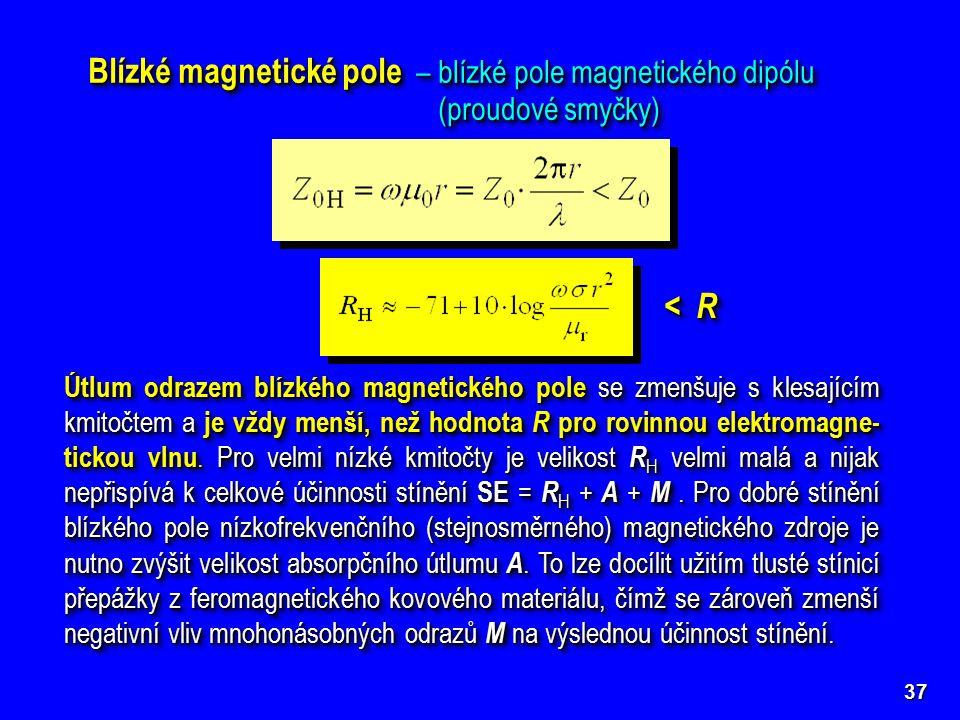 37 Blízké magnetické pole – blízké pole magnetického dipólu (proudové smyčky) < R Útlum odrazem blízkého magnetického pole se zmenšuje s klesajícím kmitočtem a je vždy menší, než hodnota R pro rovinnou elektromagne- tickou vlnu.