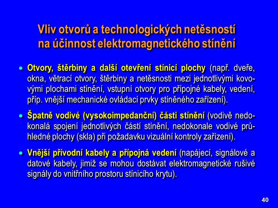 40 Vliv otvorů a technologických netěsností na účinnost elektromagnetického stínění  Otvory, štěrbiny a další otevření stínicí plochy (např.