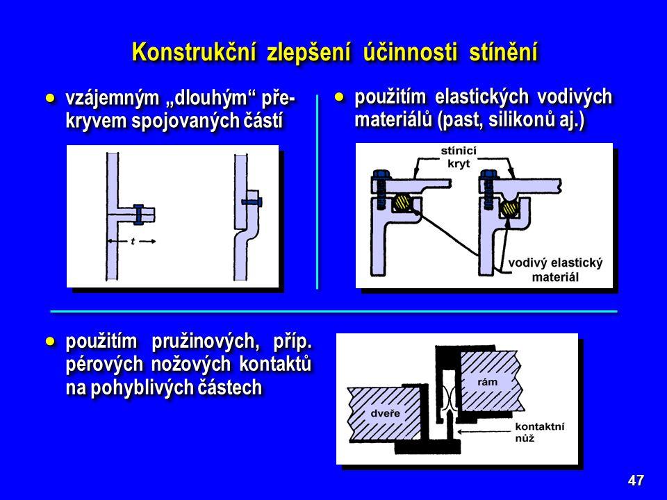"""47 Konstrukční zlepšení účinnosti stínění  vzájemným """"dlouhým"""" pře- kryvem spojovaných částí  použitím elastických vodivých materiálů (past, silikon"""