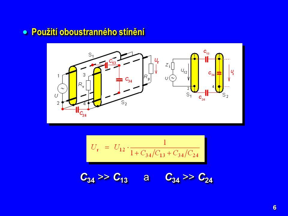 ELEKTROMAGNETICKÉ STÍNĚNÍ Teoretické řešení  neomezeně rozlehlá stínicí přepážka z dobře vodivého kovu  kolmý dopad rovinné elektromagnetické vlny (nejhorší případ) Teoretické řešení  neomezeně rozlehlá stínicí přepážka z dobře vodivého kovu  kolmý dopad rovinné elektromagnetické vlny (nejhorší případ) 27 Koeficient stínění nebonebo