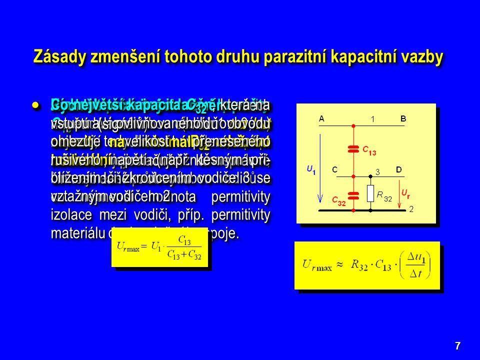 """8  Vzájemně elektricky odstínit oba ovlivňující se vodiče buď stíně- ním vodiče 3, nebo zavedením pomocného """"stínicího spoje s nulovým potenciálem na desce plošného spoje mezi vodiče 1 a 3."""