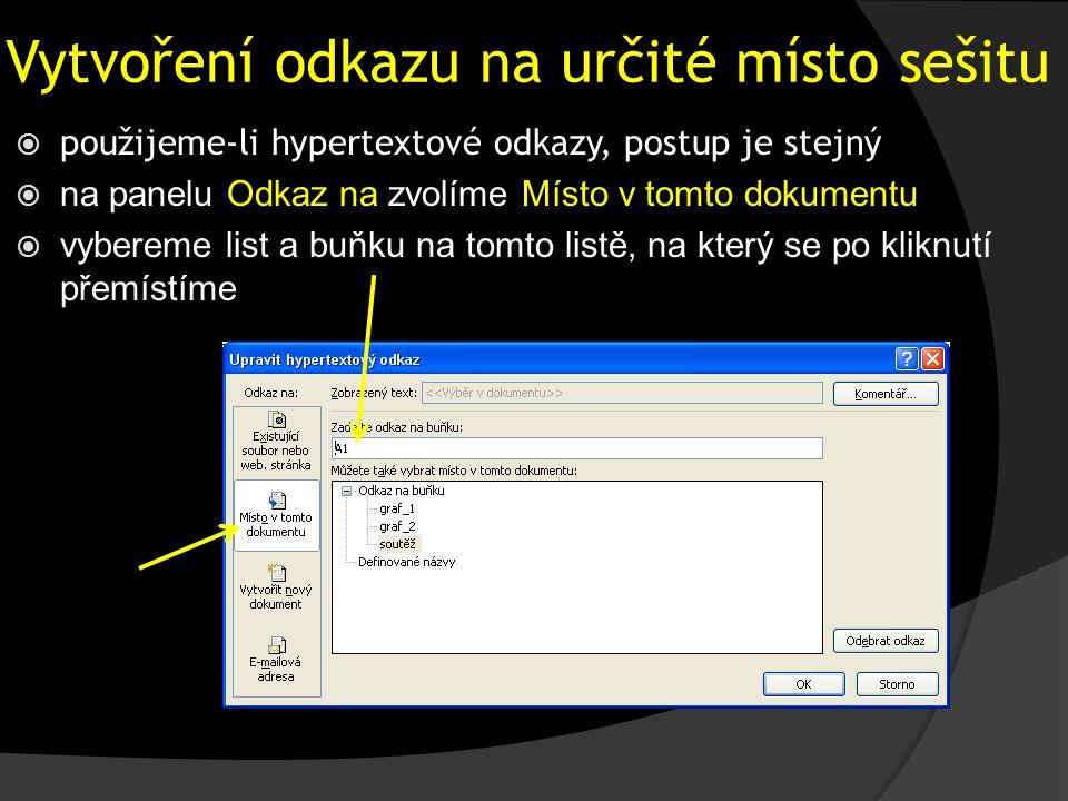 Vytvoření odkazu na určité místo sešitu  použijeme-li hypertextové odkazy, postup je stejný  na panelu Odkaz na zvolíme Místo v tomto dokumentu  vybereme list a buňku na tomto listě, na který se po kliknutí přemístíme