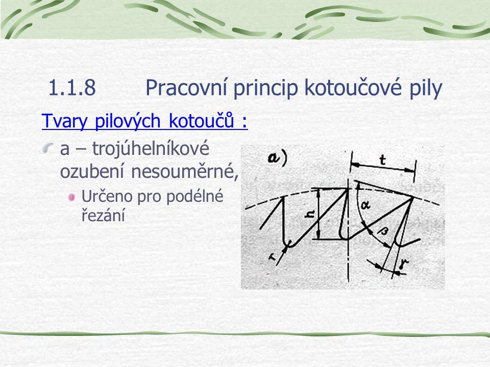 1.1.8Pracovní princip kotoučové pily Druhy pilových kotoučů : a – plochý, b – podbroušený, c – jednostranně sbíhavý, d – jednostranně sbíhavý e – obou