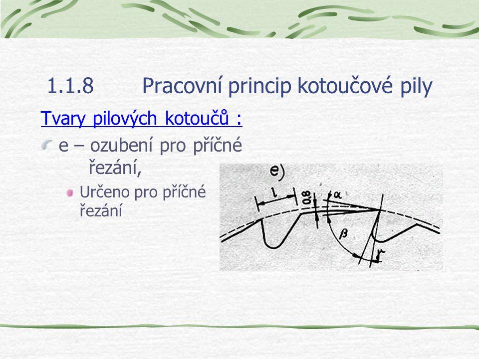 1.1.8Pracovní princip kotoučové pily Tvary pilových kotoučů : d – ozubení s malým počtem zubů,