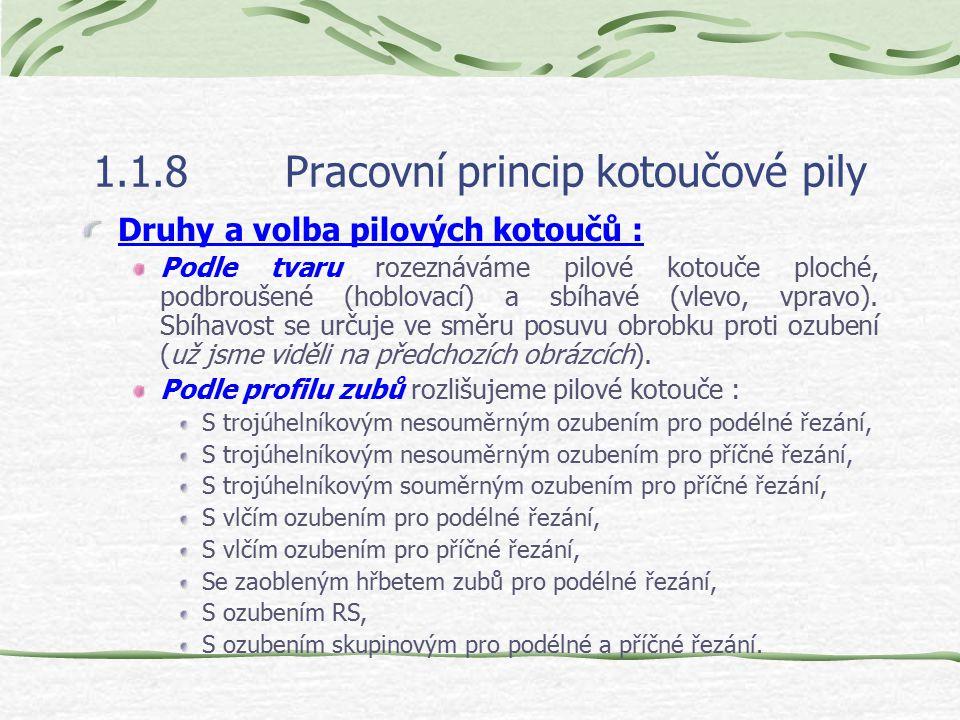 1.1.8Pracovní princip kotoučové pily Tvary pilových kotoučů : f – ozubení podbroušené, Určeno pro podélné řezání