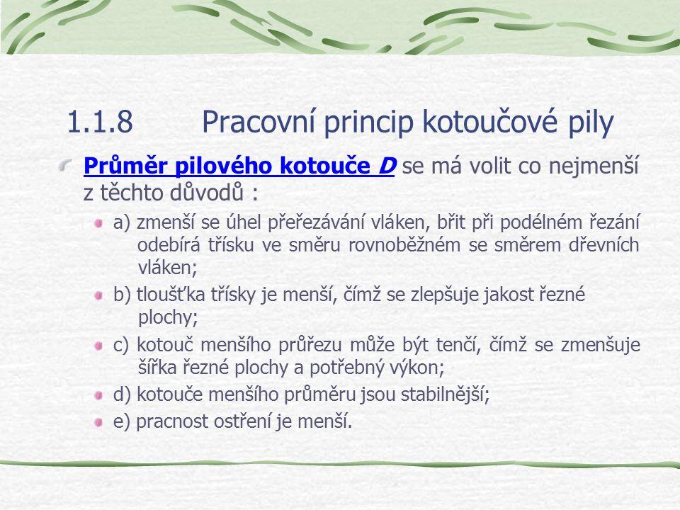 1.1.8Pracovní princip kotoučové pily Druhy a volba pilových kotoučů : Podle tvaru rozeznáváme pilové kotouče ploché, podbroušené (hoblovací) a sbíhavé